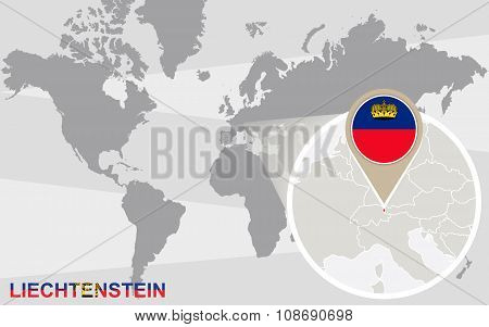 World Map With Magnified Liechtenstein