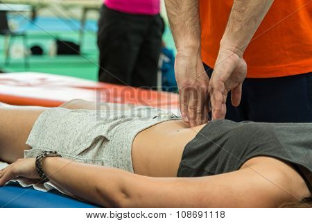 Athlete Relaxation Massage During Fitness Activity, Wellness And Sport