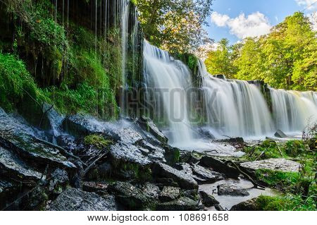 Water Cascading Down From Keila-joa Waterfall, Estonia