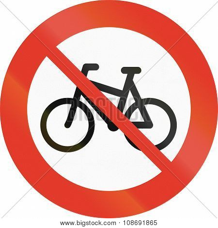 Norwegian Regulatory Road Sign - No Bicyles