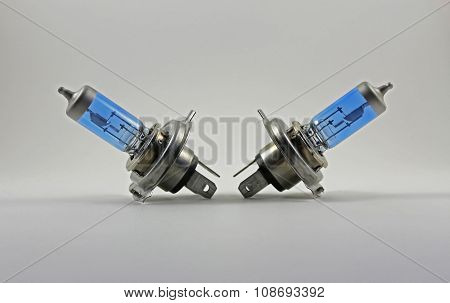 Automotive Light Bulb On Gray Background