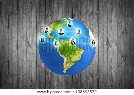Colorful earth on the gray background