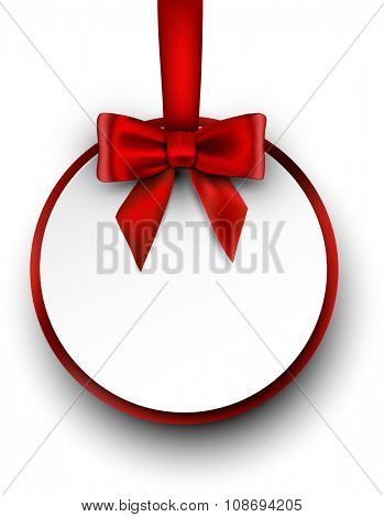 Greeting card with bow. Vector paper illustration.