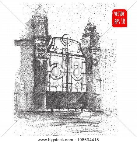 Hand drawn Vintage gate