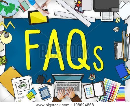 FAQS Frequently Asked Questions Information Concept