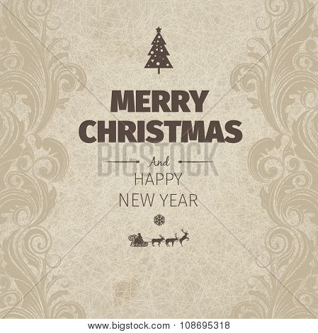 Vintage retro flat style trendy Merry Christmas card and New Year wish greeting