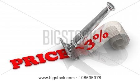 Discount of 3%. Financial concept