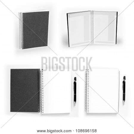 Set Of Black Open And Closed Notebooks With Pen