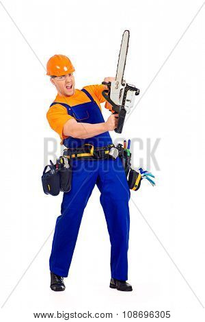 Full length portrait of a male construction worker in uniform working with chainsaw. Job, occupation. Isolated over white.