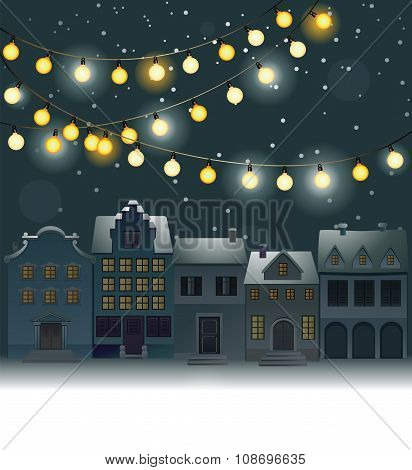 Christmas background with small town