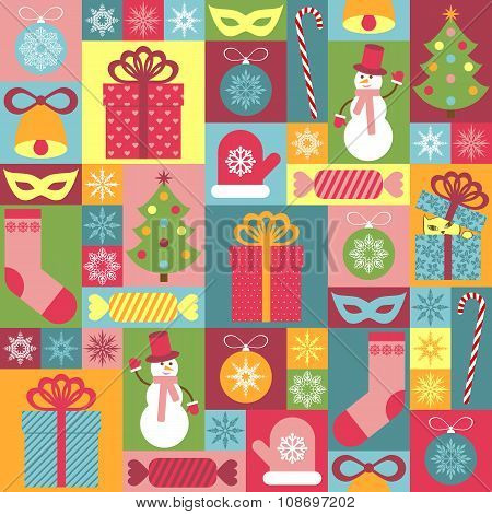 Seamless Christmas Pattern For Children. It Can Be Used For Decorating Of Wrapping Paper, Invitation
