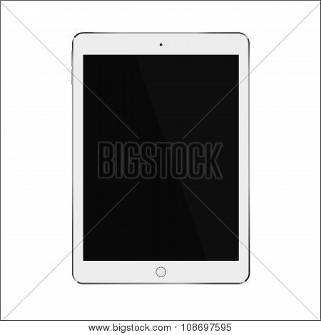 White realistic smart tablet with blank black screen. Vector illustration eps 10