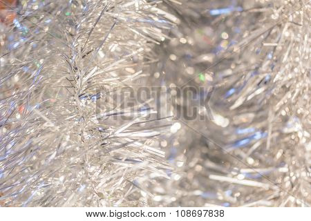 Christmas Background Of Silver Tinsel