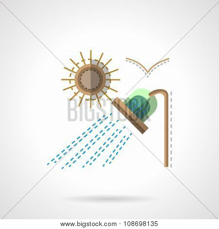 Camping shower flat color vector icon