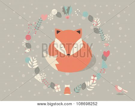 Cute Sleepy Christmas Fox Surounded With Floral Decoration, Vector Illustration