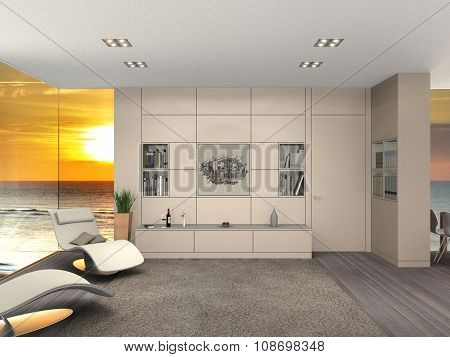modern seaside living room and sunset
