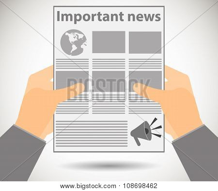 Newspaper In Hands. Important News Read In A Newspaper. Vector Illustration.
