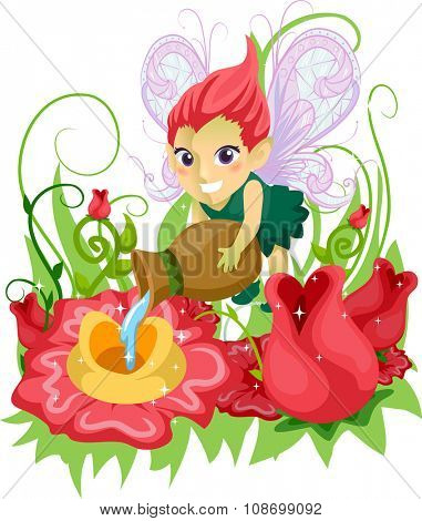 Illustration of a Little Fairy Girl Feeding the Flowers in a Whimsical Garden
