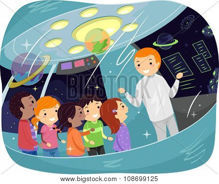 Stickman Illustration of Kids on an Educational Tour Listening to a Space Lecture
