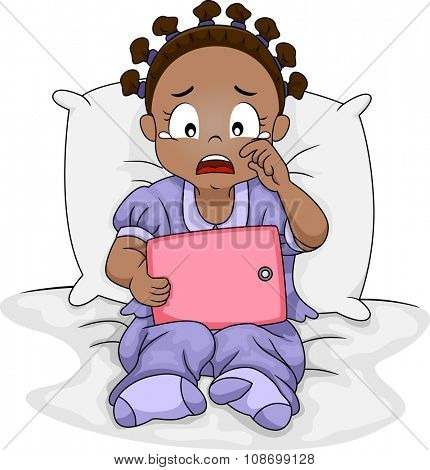 Illustration of a Sad African Girl Crying Over What She is Watching on Her Tablet