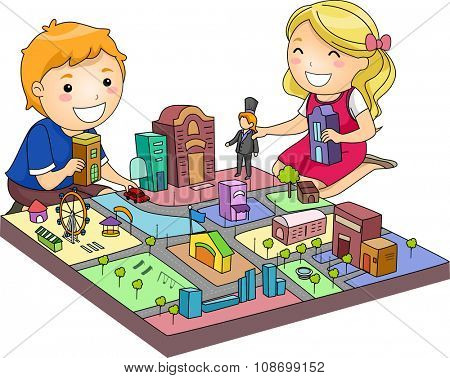 Illustration of a Pair of Cute Kids Playing with a Miniature City