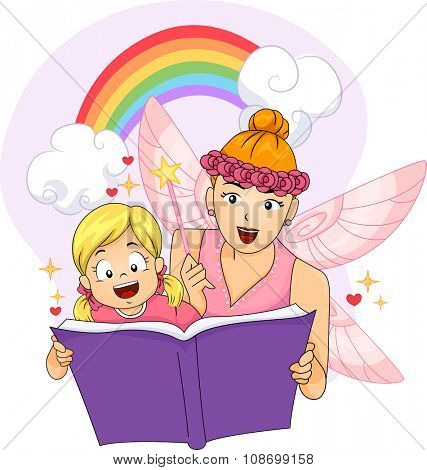 Colorful Illustration of a Woman Dressed as a Fairy Reading a Fantasy Book to a Little Girl