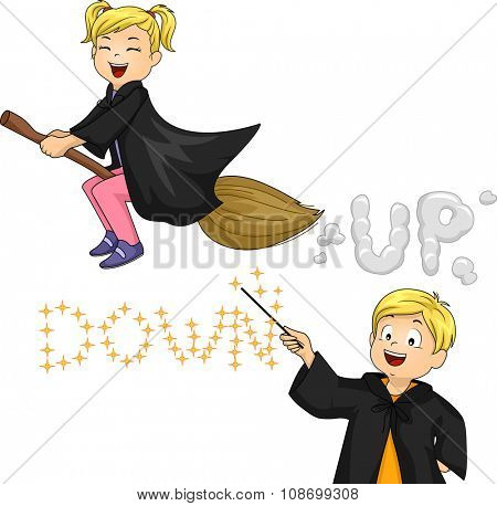 Illustration of a Little Witch and a Little Wizard Performing Magic Tricks
