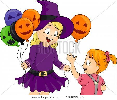 Illustration of a Little Girl Handing Out Halloween Themed Balloons