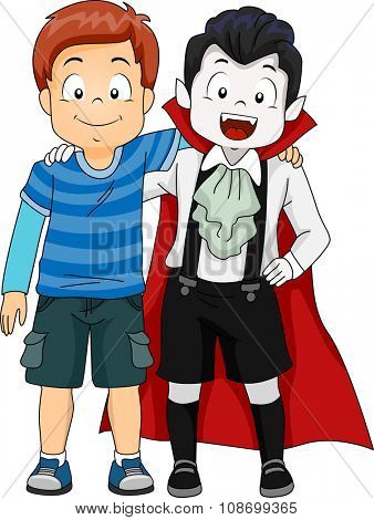Illustration of a Boy Hanging Out with Another Boy Dressed as a Vampire