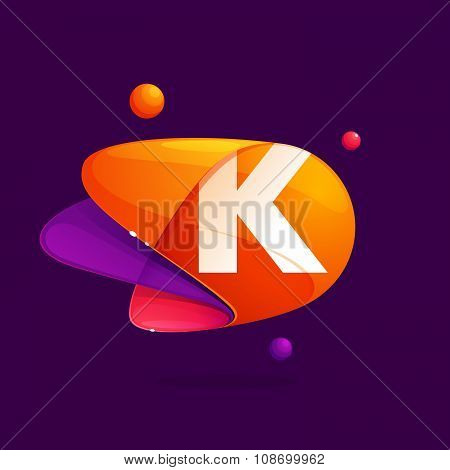 K Letter With Atoms Orbits Colorful Icon.