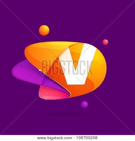 V Letter With Atoms Orbits Colorful Icon.