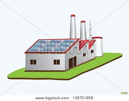 Factory with Solar Panels, Green Energy or Renewable Energy or Environment Friendly