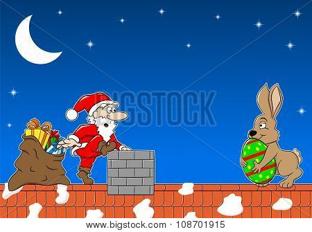 Santa Claus Meets The Easter Bunny On A Roof