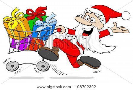 Cartoon Santa Claus At Christmas Shopping