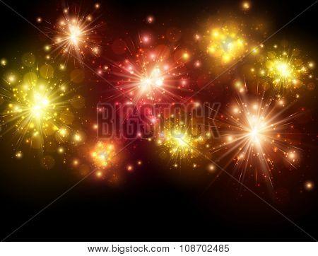Festive colourful firework background. Vector illustration.