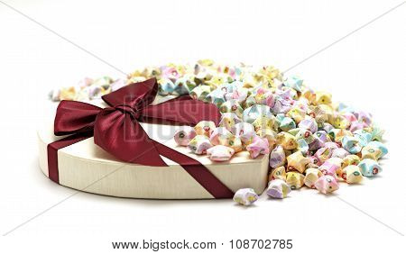Gift Box With Origami Lucky Stars Isolated On White