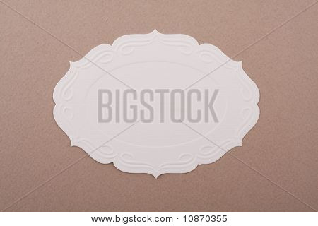 white label on brown background
