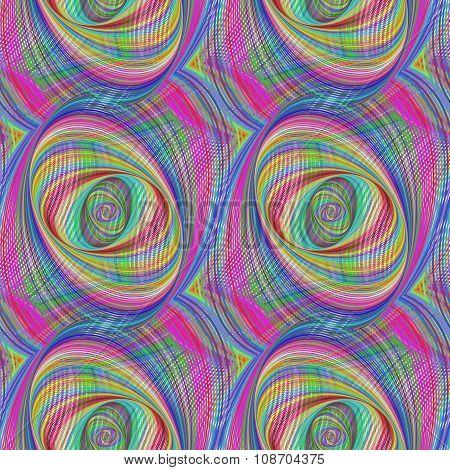Repeating colorful ellipse fractal pattern design