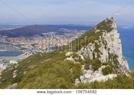 landscape view from above on the Rock of Gibraltar and the Spanish town of Linea de Concepcion