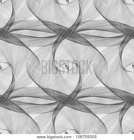 Black white seamless elliptical curved pattern