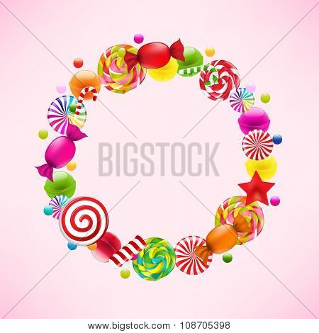 Candy Ball With Gradient Mesh, Vector Illustration