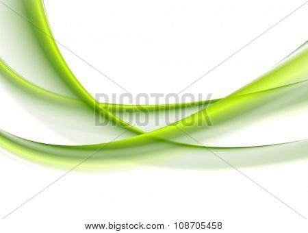 Green smooth blurred waves on white background