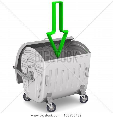 Open garbage container with a green arrow pointing down