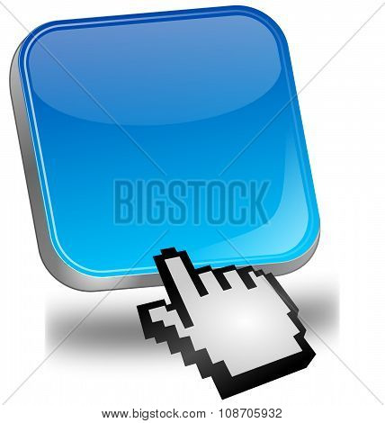 blue blank Button with cursor