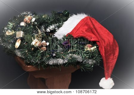 Christmas decoration and Santa hat