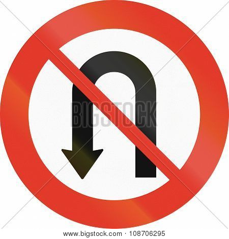 Norwegian Regulatory Road Sign - No U-turn
