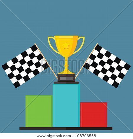 Winner, Chequer Flag, Podium, Victory Stand