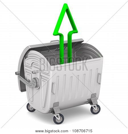 The open garbage container with a green arrow pointing to upwards