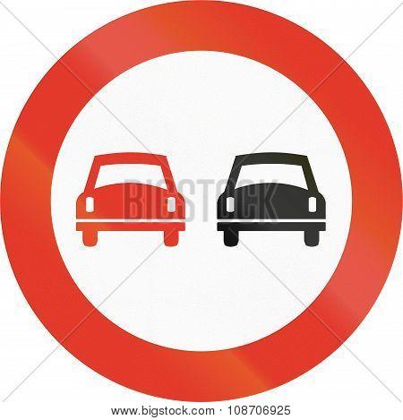 Norwegian Regulatory Road Sign - No Overtaking