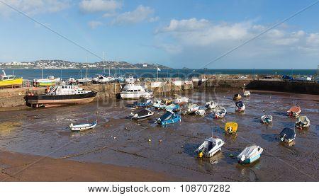 Paignton harbour Devon England with view towards tourist destinations of Torquay
